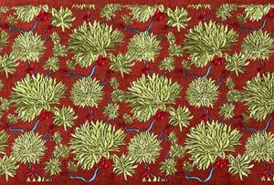 Tâm Phúc Vải Thêu Hoa đỏ Pattern